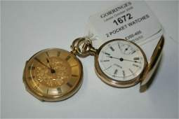 1672 A Swiss 18k gold keywind pocket watch  Waltham k