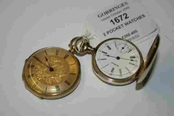 1672: A Swiss 18k gold keywind pocket watch & Waltham k