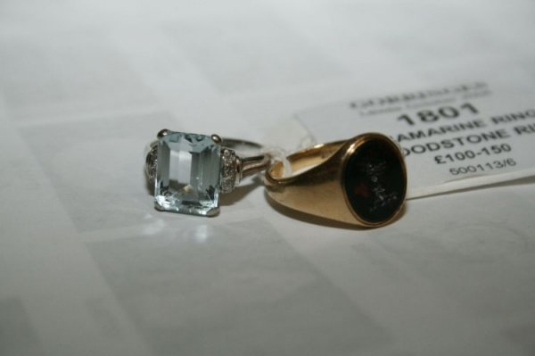 1801: An 18ct white gold aquamarine ring, & bloodstone