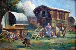 2282: Geoffrey Mortimer (1895-1986) Gypsy caravans 8 x
