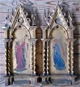 Italian School Angels 10 x 4in. gothic frames.