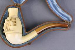 202: A carved meerschaum pipe, cased