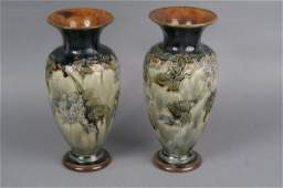 587 A pair of Royal Doulton stoneware vases 105ins