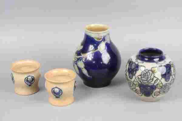 588: Two Royal Doulton stoneware vases and two other va