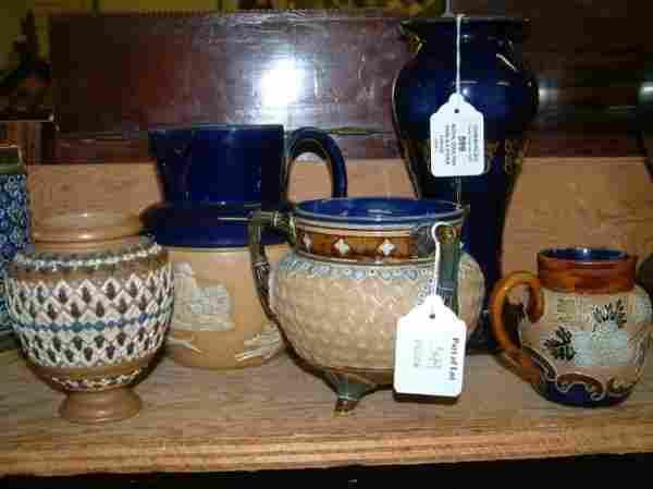 599: A Royal Doulton stoneware vase Slaters Patent jug,