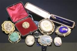 2367 A Victorian oval enamel locketbrooch opal ring