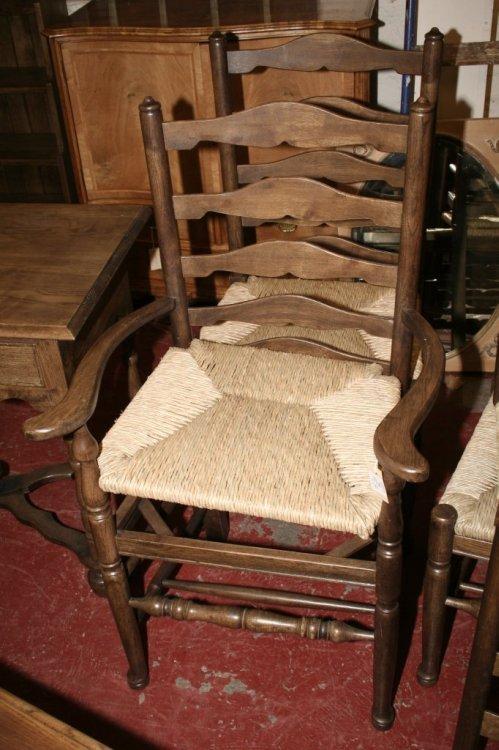 592: A set of six 18th century style oak ladderback din