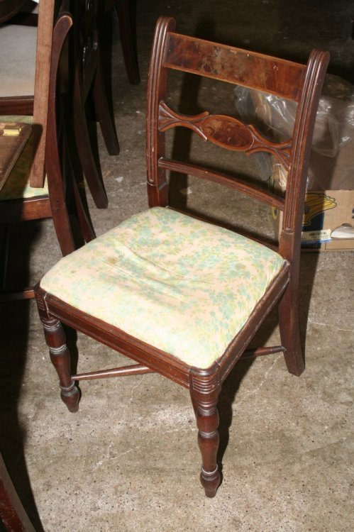 610: A set of five Regency mahogany dining chairs & a s