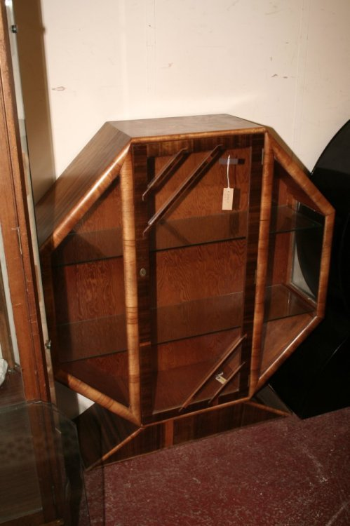 611: An Art Deco walnut display cabinet, height 4ft, wi