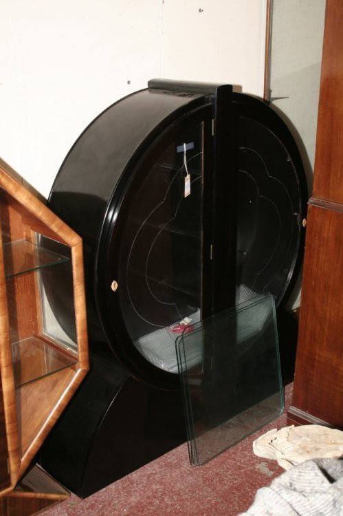613: An Art Deco ebonised display cabinet, height 4ft 4