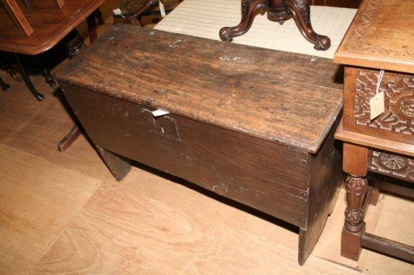 614: An 18th century oak six plank coffer, height 1ft 1