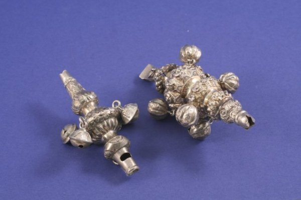 1023: Two Victorian silver baby's rattles