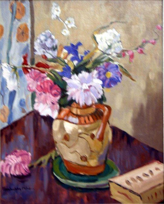 1608: Maclaughton Milne Still life of flowers in a jug