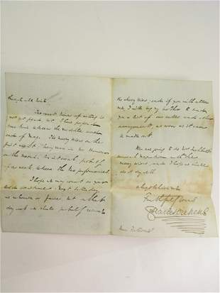 DICKENS (CHARLES), A signed and dated letter from