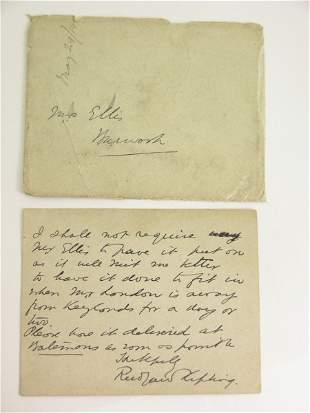 KIPLING (RUDYARD), A signed letter on headed card