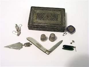 A 19th century silver filigree trinket box,