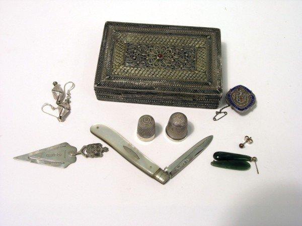 1337: A 19th century silver filigree trinket box,