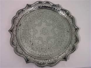 A late Victorian silver salver, 15oz, 10.75ins