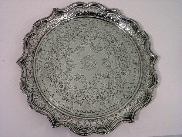 1346: A late Victorian silver salver, 15oz, 10.75ins