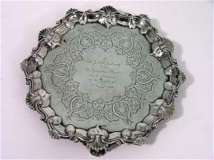 A George V silver waiter, 5oz, 7.5ins