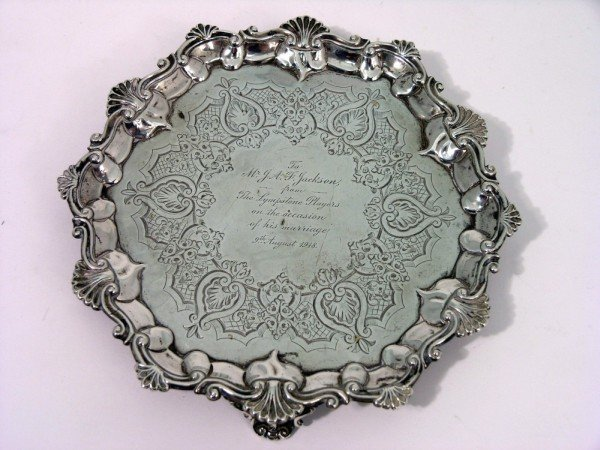 1347: A George V silver waiter, 5oz, 7.5ins