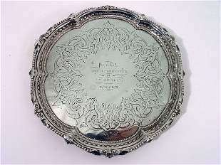 A Victorian silver waiter, 8oz, 8ins
