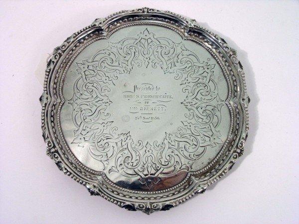 1348: A Victorian silver waiter, 8oz, 8ins