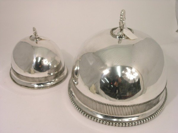 1349: A Victorian silver plated meat cover,