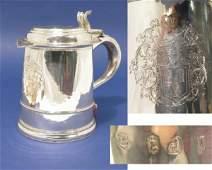 1360: A Queen Anne Britannia standard silver tankard, 2