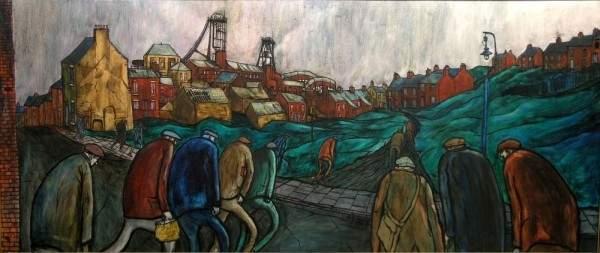 1912: Tom McGuinness (1926-) 'Pit Village', 36 x 84 ins