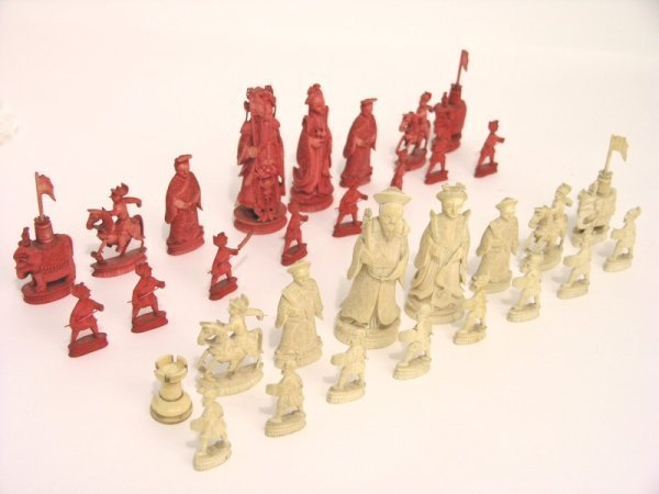 17: An ivory chess set, king 3.75ins
