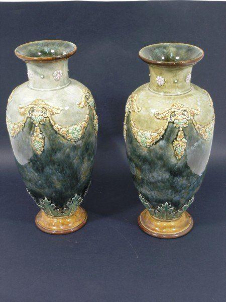 525: A pair of Royal Doulton stoneware vases,