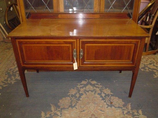 828: An Edwardian inlaid mahogany sideboard, 4ft