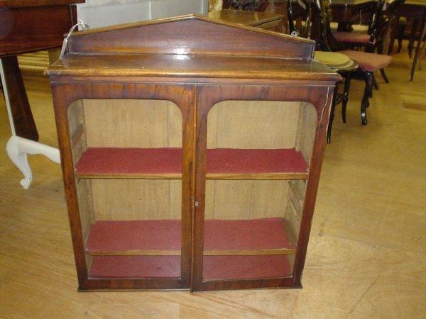 836: A Victorian walnut glazed hanging wall cabinet, 2f