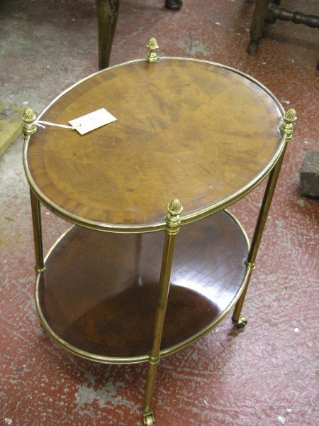 838: A Continental brass and mahogany two tier etagere,