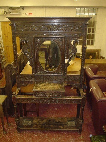839: A late Victorian carved oak hall stand, 4ft