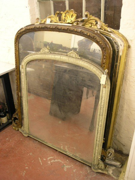 840: A Victorian giltwood and gesso arched overmantel m