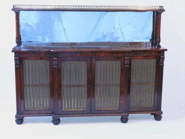 893: A Regency rosewood breakfront side cabinet