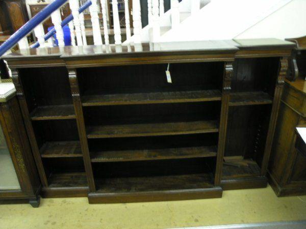 905: An Edwardian mahogany breakfront open bookcase 6ft