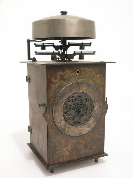 991: A 19th century Japanese chamber clock, 12in. high