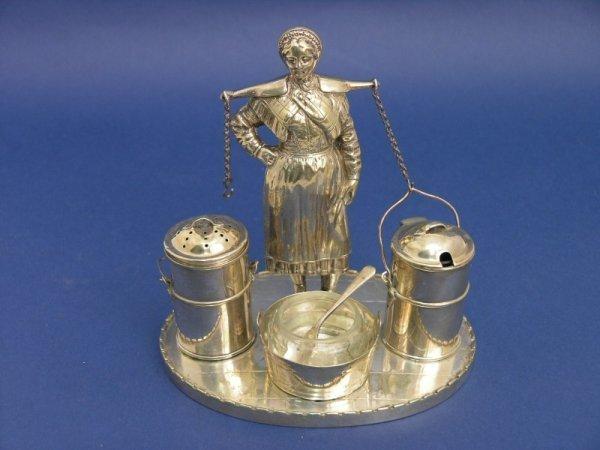 1259: A Dutch silver plated novelty condiment set, 5.75
