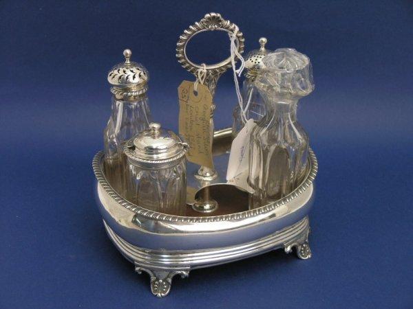 1264: A George IV silver cruet stand, 7ins