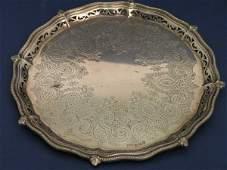 1302: A Victorian silver waiter, 8oz, 8ins
