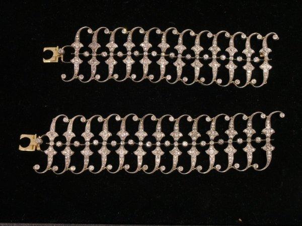 1850: A pair of Edwardian diamond cuff bracelets, 7ins