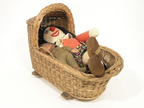 12: A Merrythought soft toy, Dean's soft toy and wicker