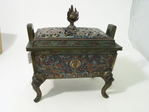 634A: A late 19th century Chinese cloisonne incense bur