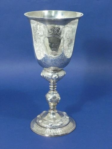 1458: A mid 19th century Danish silver goblet, 10.5ins,