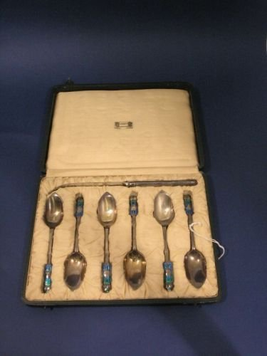 1463: A cased set of six Liberty & Co silver and enamel