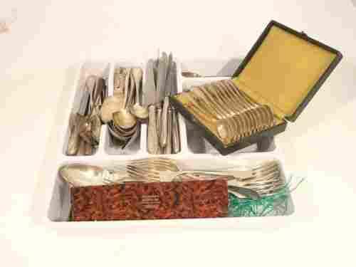 12 piece set Christofle flatware, French silver &
