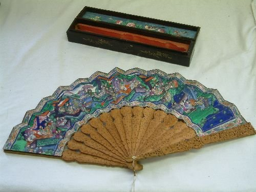 203: A Cantonese relief carved sandalwood fan